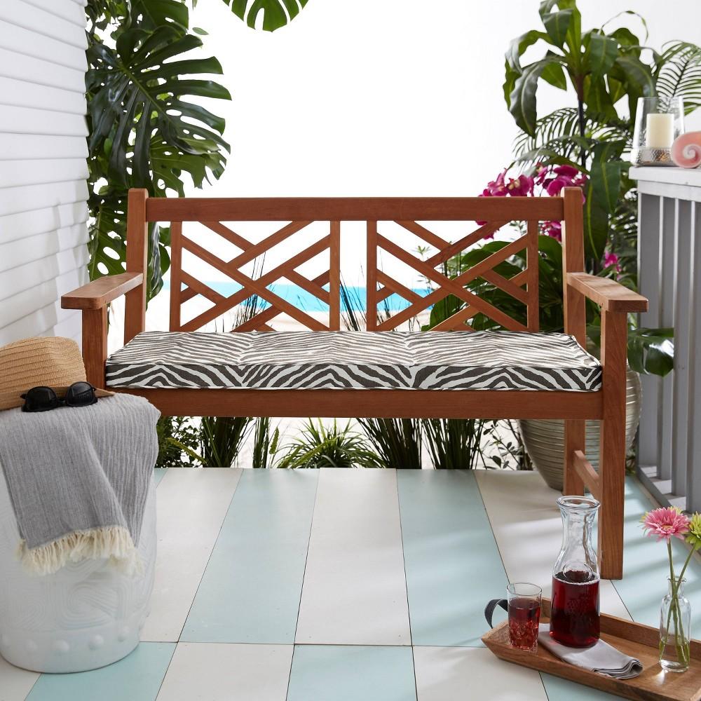 Sunbrella 19 34 Indoor Outdoor Corded Bench Cushion Gray Zebra
