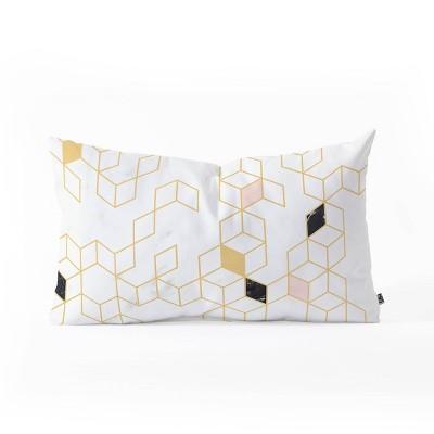 """23""""x14"""" Florent Bodart Keziah Scandinavian Pattern Oblong Throw Pillow White/Yellow - Deny Designs"""