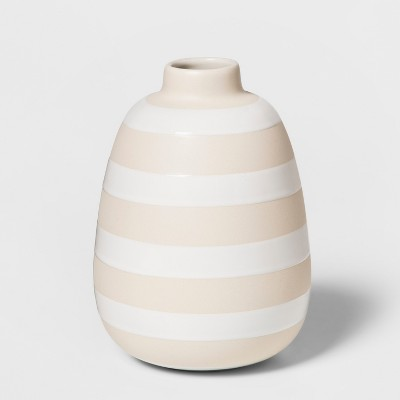 7.7  x 5.6  Decorative Stoneware Striped Vase Tan - Threshold™