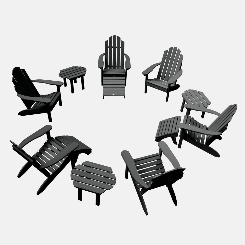 Image of 12pc Classic Westport Adirondack Patio Set Black - highwood