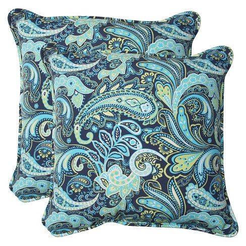 2pk Outdoor Square Throw Pillow - Navy/Turqouise/Paisley - Pillow Perfect - image 1 of 1