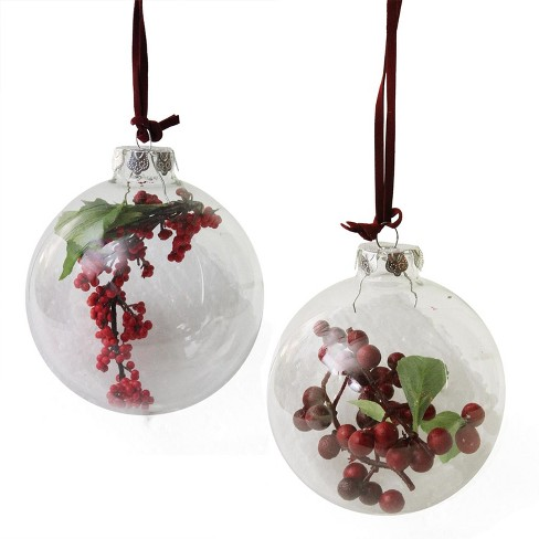About this item - Allstate 2ct Clear Glass With Burgundy Berries Ball Christmas