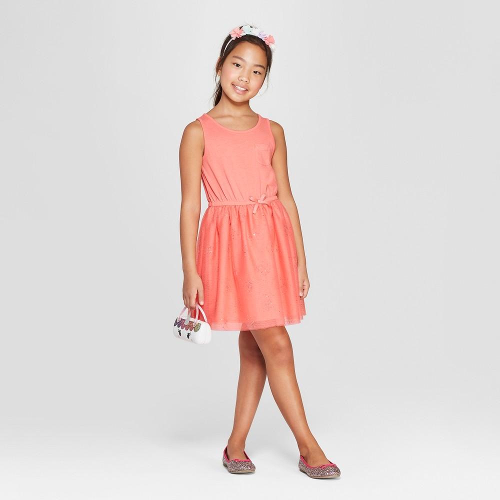 Girls' A Line Dress - Cat & Jack Coral S, Pink