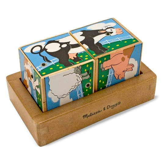Melissa & Doug Farm Sound Blocks 6-in-1 Puzzle With Wooden Tray image number null