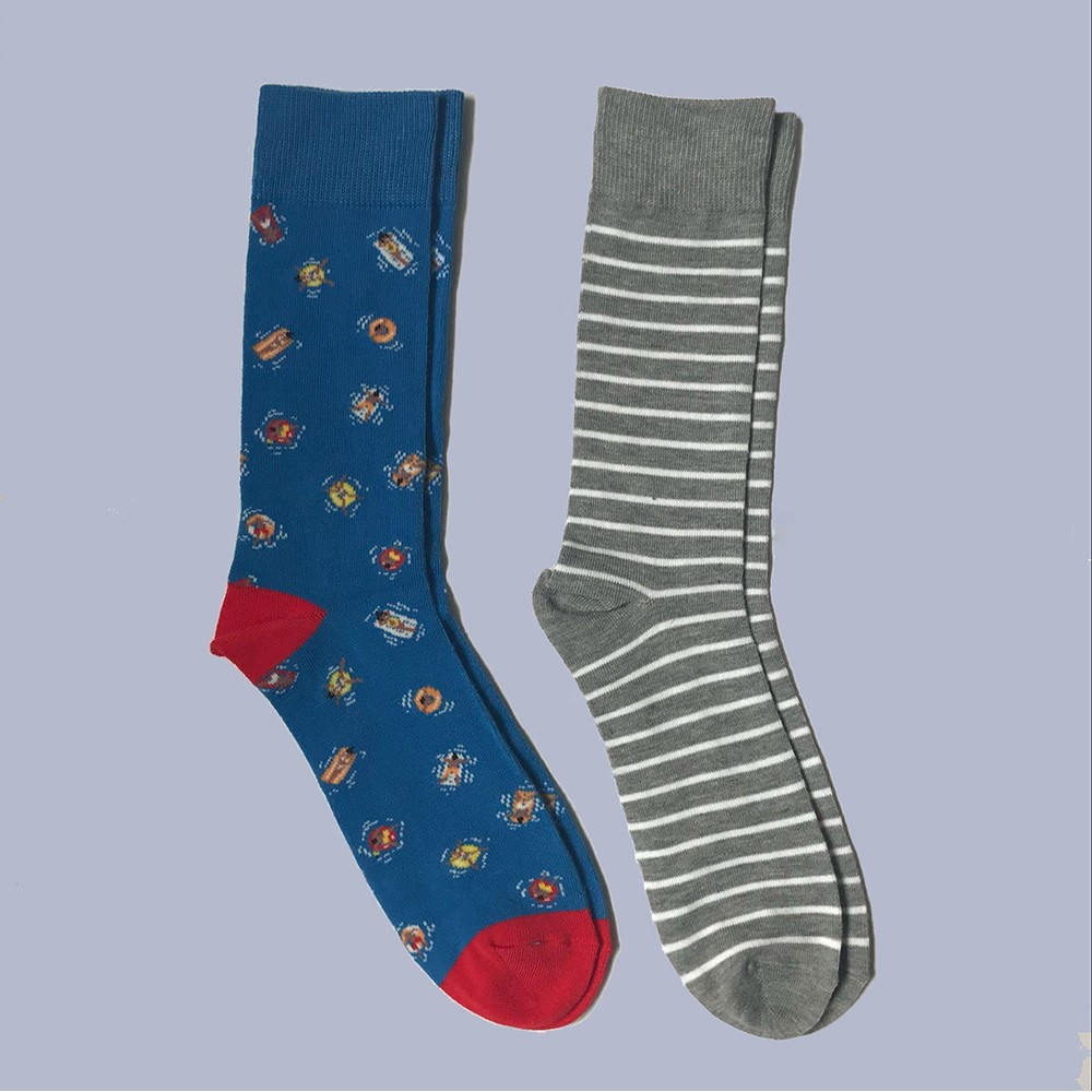 Men's 2pk Sports Novelty Crew Socks - Goodfellow & Co Blue 6-12, Size: Small