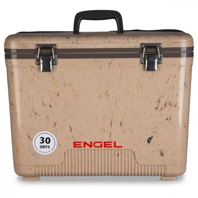 Engel 30 Quart 48 Can Leak Proof Compact Cooler and Drybox, Grassland Brown