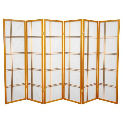 5 ft. Tall Double Cross Shoji Screen - Honey (6 Panels) - Oriental Furniture