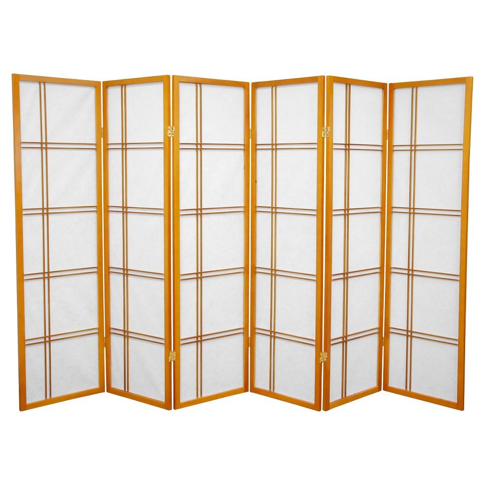 5 ft. Tall Double Cross Shoji Screen - Honey (6 Panels) - Oriental Furniture, Pumpkin