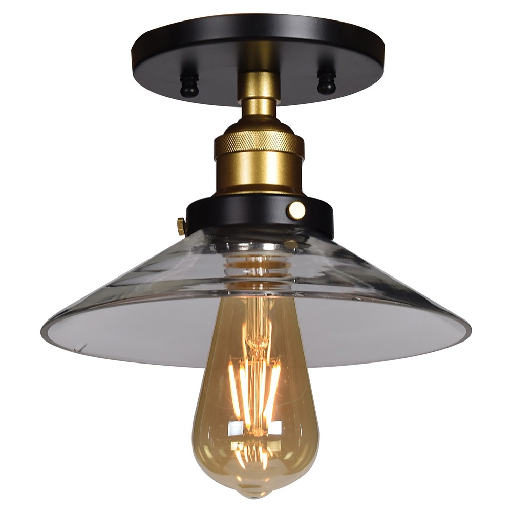 Access Lighting The District Retro Semi Flush Clear Glass Shade Ceiling Lights Black