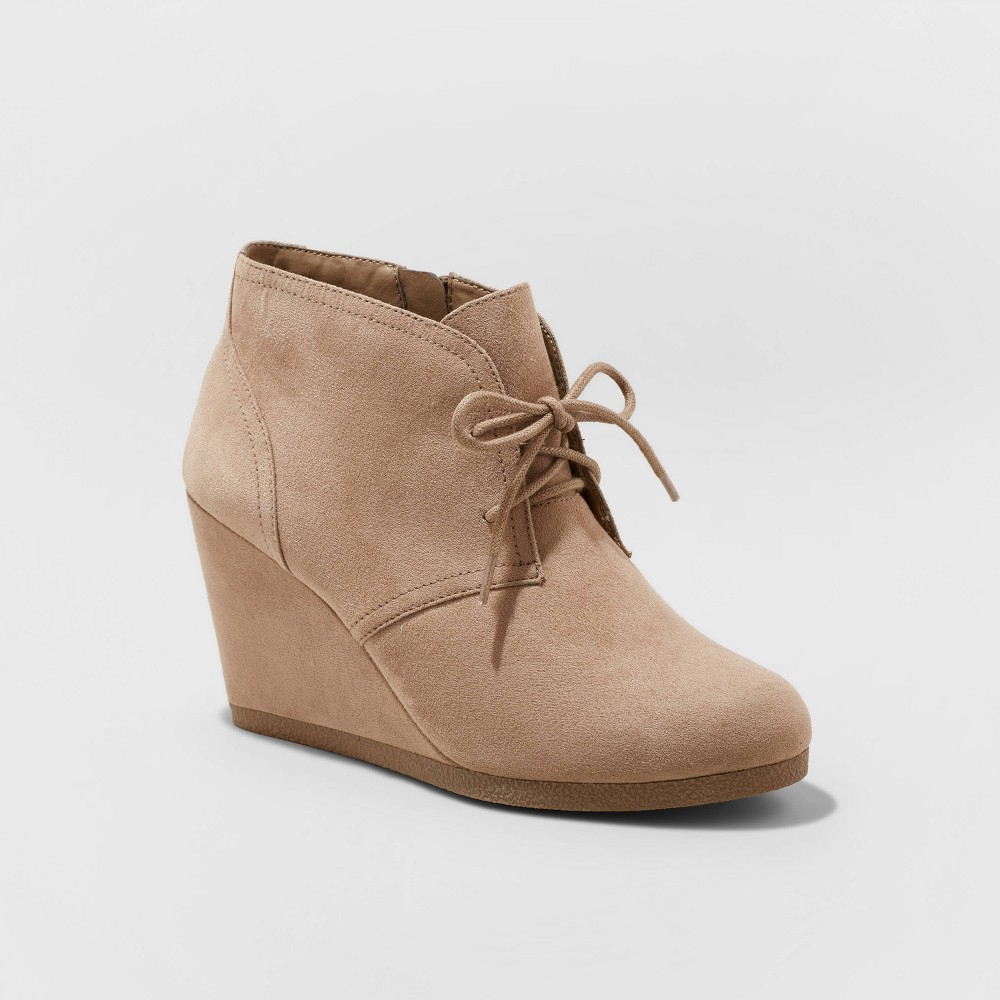 Women's Bessie Microsuede Wide Width Wedge Bootie - Universal Thread Taupe 8W, Brown was $32.99 now $18.14 (45.0% off)