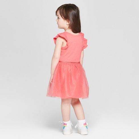 453d2deb089 Toddler Girls  Glitter Dot Ruffle Sleeve A Line Dresses - Cat   Jack™ Red