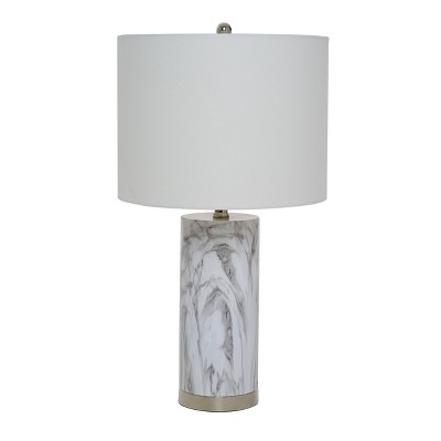 """24.5"""" Pillar Marble Table Lamp with Accents White - Cresswell Lighting"""
