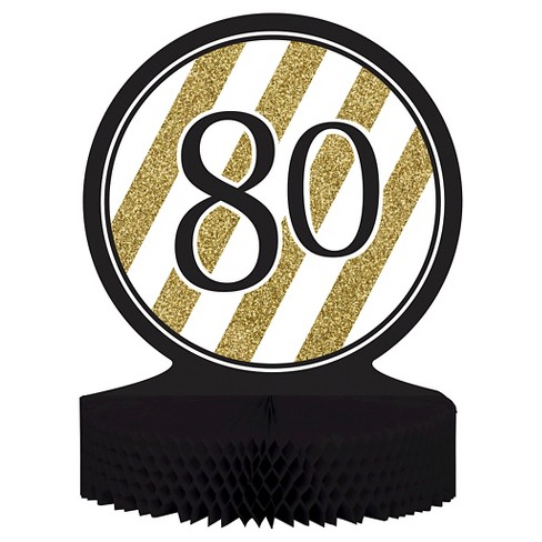 Black Gold 80th Birthday Centerpiece Target