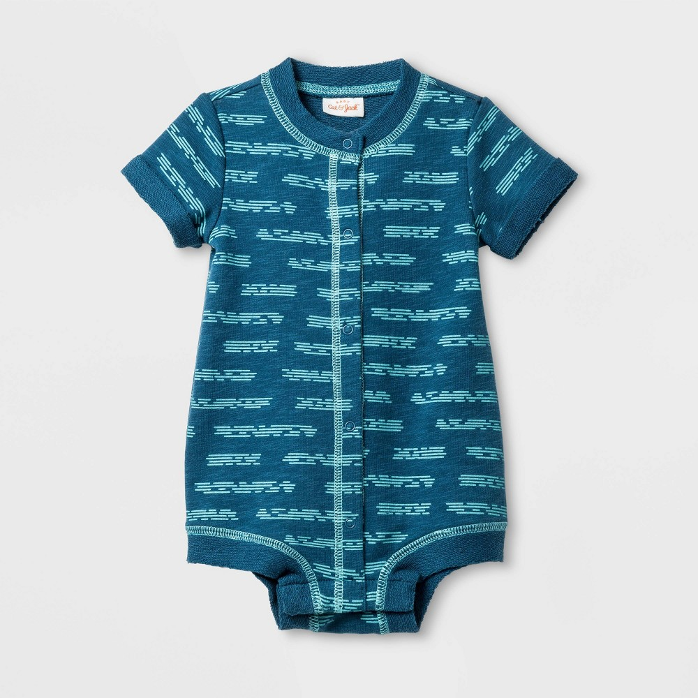 Baby Boys' Slub French Terry Button Romper - Cat & Jack Blue 0-3M