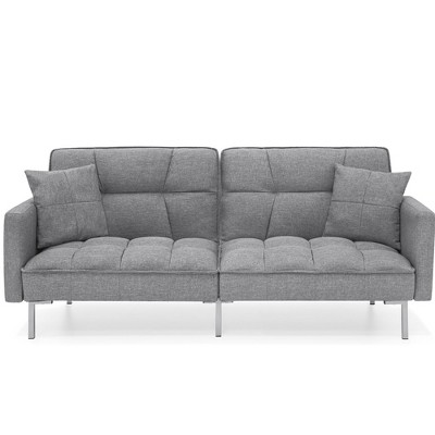 Best Choice Products Convertible Living Room Linen Fabric Tufted Split-Back Futon Sofa w/ 2 Pillows