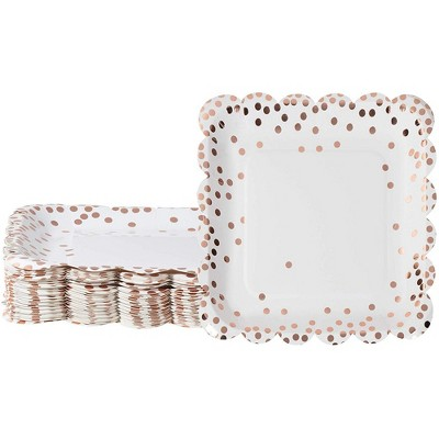Juvale 48 Pack Rose Gold with Scalloped Edging Square Disposable Paper Plate 9 x 9 In