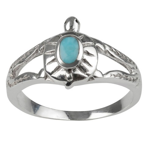 1/10 CT. T.W. Oval-cut Turquoise Turtle Inlaid Set Ring in Sterling Silver - Turquoise - image 1 of 2
