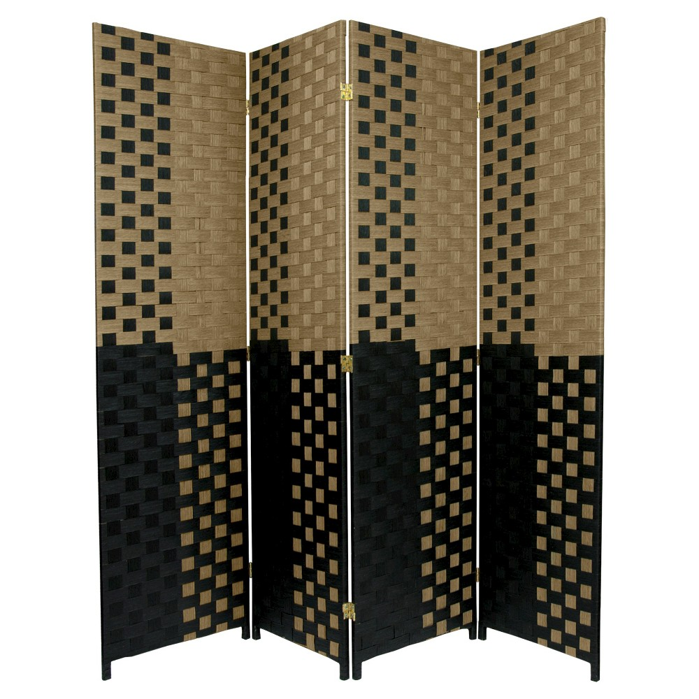 6 ft. Tall Woven Fiber Room Divider Olive/Black 4 Panel - Oriental Furniture, Brown