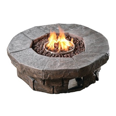 Outdoor Round Stone Propane Gas Fire Pit - Peaktop