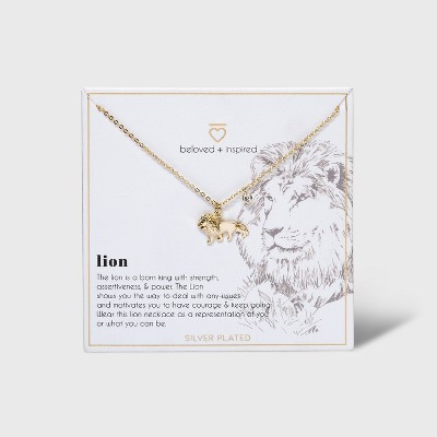 Beloved + Inspired Gold Dipped Silver Plated Lion Necklace