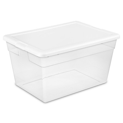 Sterilite 56 Qt Clear Storage Box White Lid
