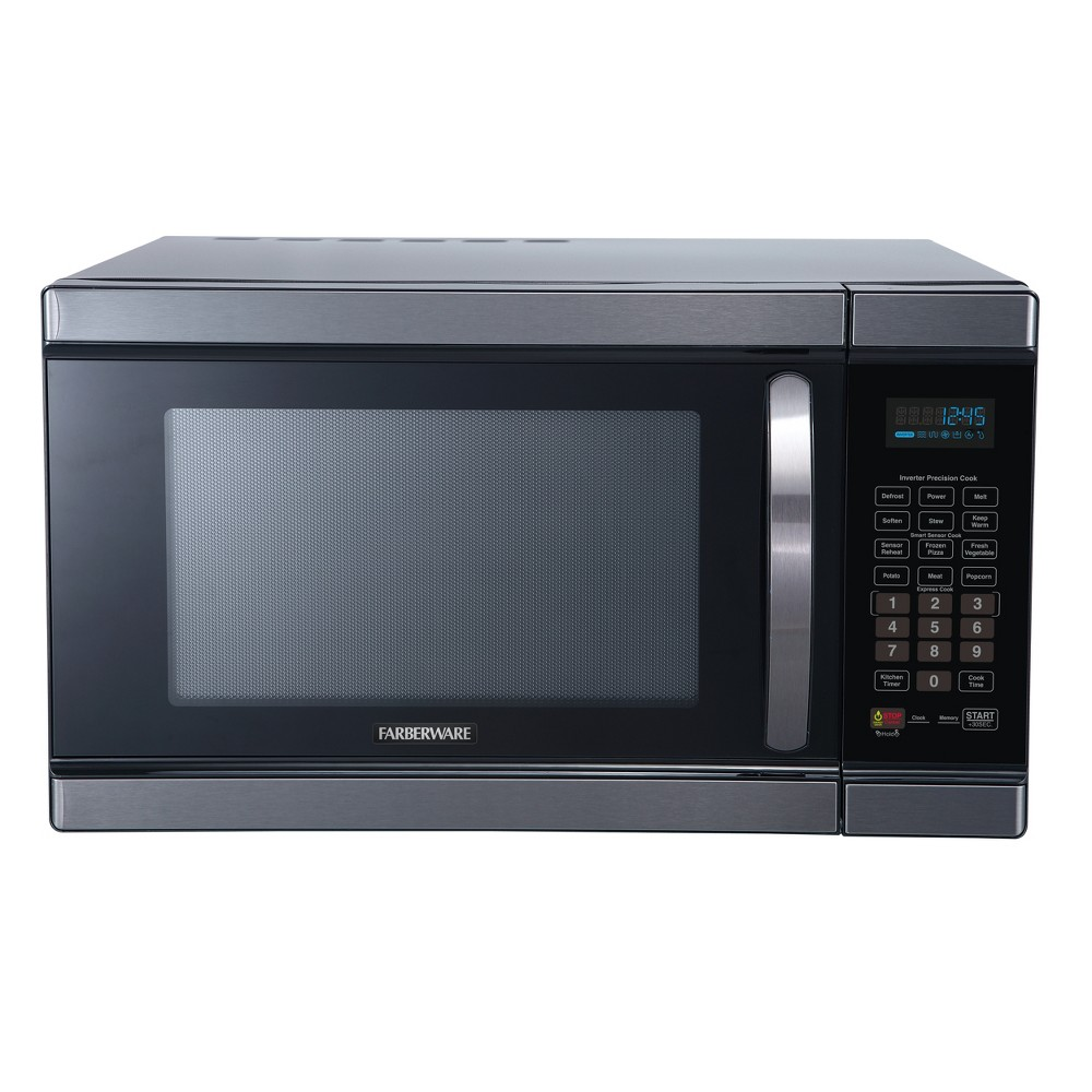 Farberware 1.1 cu ft 1100 Watt Microwave Oven with Smart Sensor Cooking Black Stainless Steel FMO11AHTBSJ