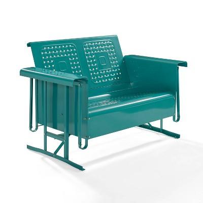 Bates Outdoor Loveseat Glider - Turquoise Gloss - Crosley