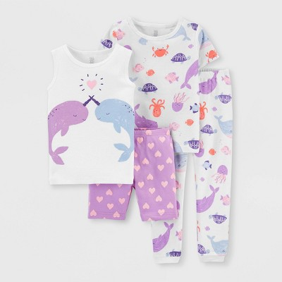 Toddler Girls' 4pc Narwhal Pajama Set - Just One You® made by carter's White/Purple