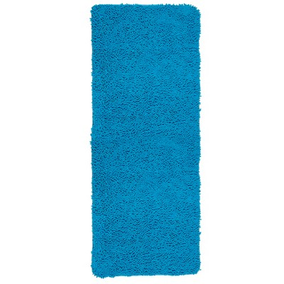 Solid Memory Foam Shag Bath Mat Blue - Yorkshire Home
