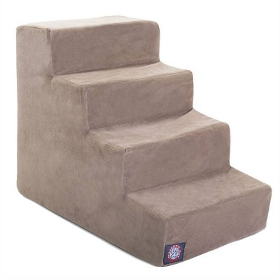Majestic Pet 4 Step Suede Pet Stairs - Stone - Large