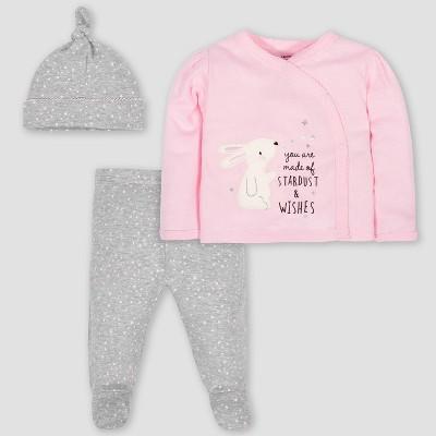 Gerber Baby Girls' 3pc Bunny Take Me Home Top and Bottom Set - Pink/Gray 0-3M