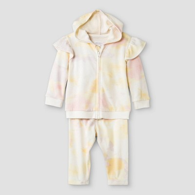 Grayson Mini Baby Girls' Tie-Dye Hoodie Top & Bottom Set - Newborn