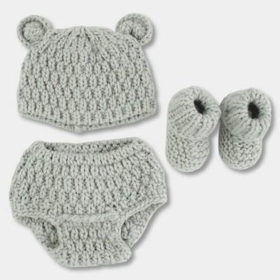 Baby Boys' Bear 3pc Chunky Knit Hat/Diaper Cover/Bootie Set - Cloud Island™ Gray One Size