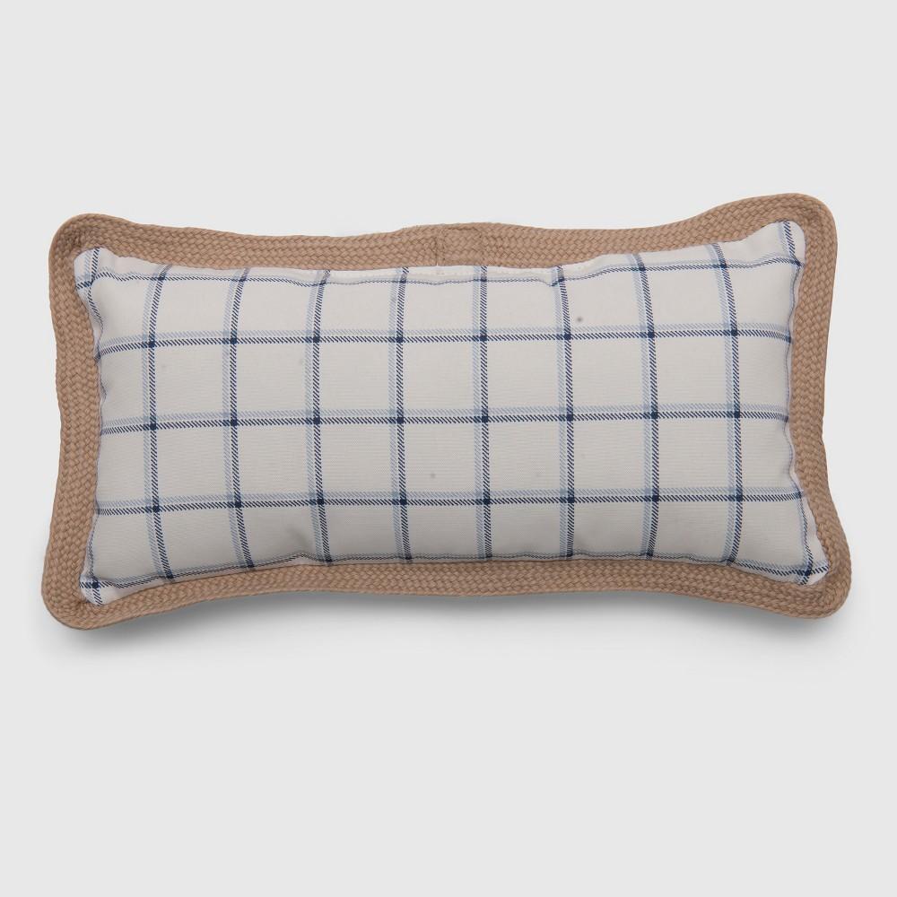 Lumbar Simple Grid Outdoor Pillow Blue - Threshold