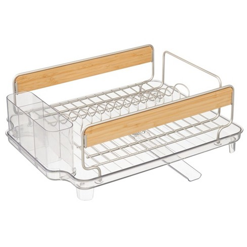 mDesign Large Dish Drying Rack with Swivel Spout, 3 Pieces - Satin/Bamboo/Clear - image 1 of 4