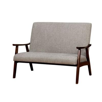 Mid Century Modern Upholstered Love Seat Light Gray - Mibasics