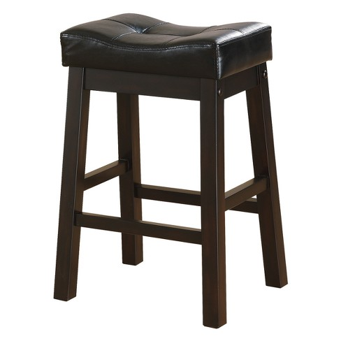 Astonishing Private Reserves 24 Set Of 2 Counter Height Stool Black Leatherette With Cappuccino Finish Customarchery Wood Chair Design Ideas Customarcherynet