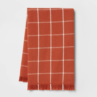 Cotton Terry Kitchen Towel with Fringe Orange - Threshold™