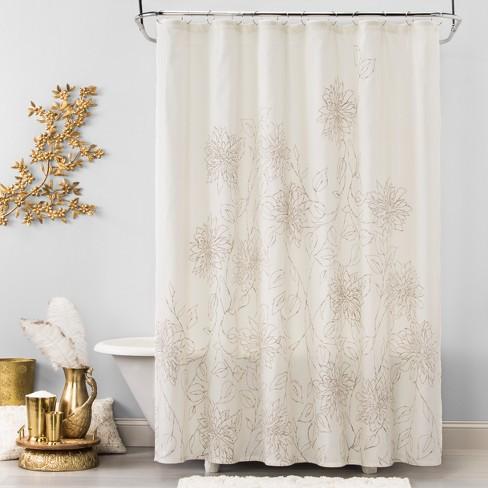 Linework Floral Shower Curtain Silver Mink