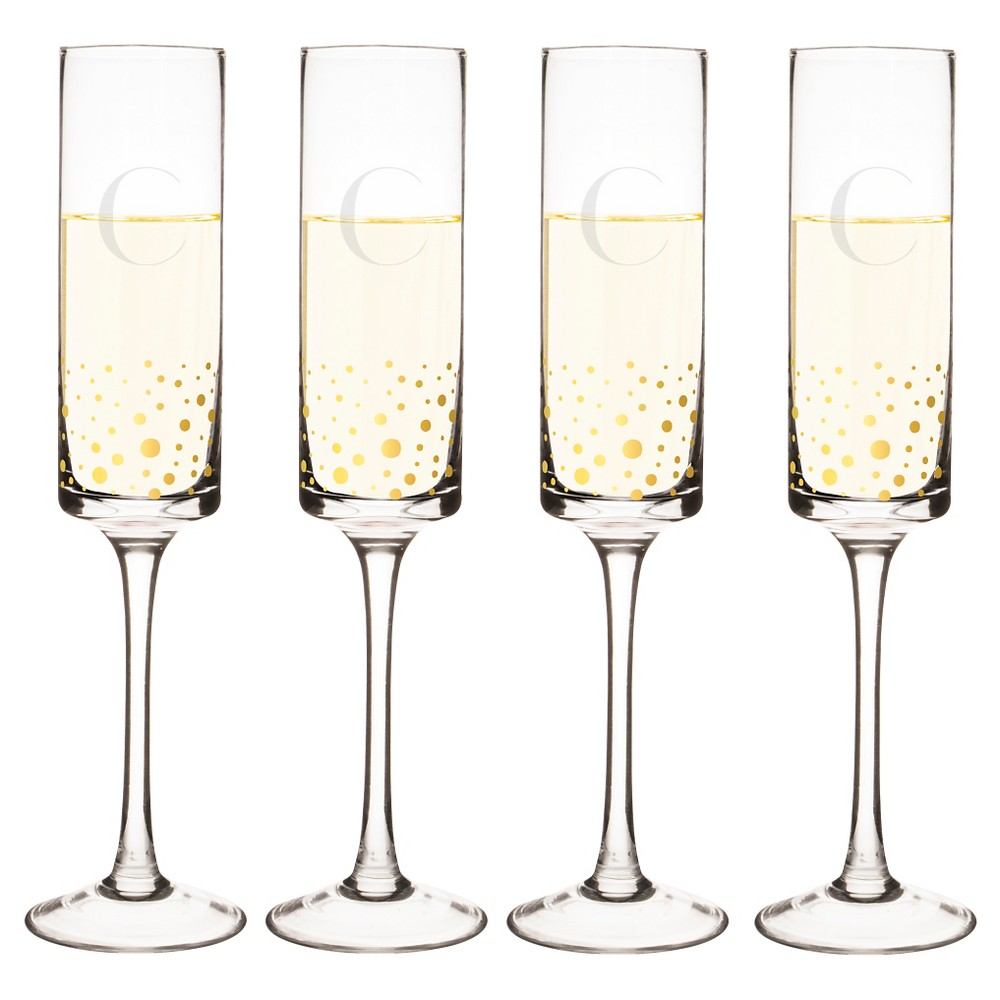 Cathy's Concepts 4pc Monogram Gold Dots Champagne Flutes C, Clear Gold