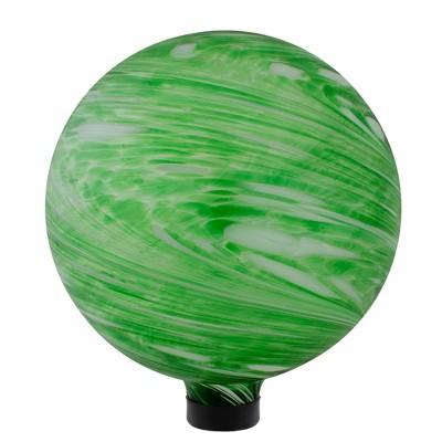 "Northlight 10"" Green and White Swirl Outdoor Garden Gazing Ball"