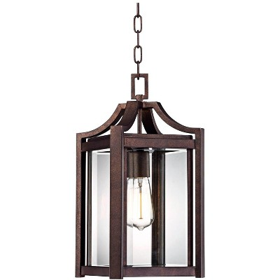 """Franklin Iron Works Modern Outdoor Ceiling Light Hanging Rustic Bronze 17"""" Clear Glass Damp Rated for Exterior Porch Entryway"""