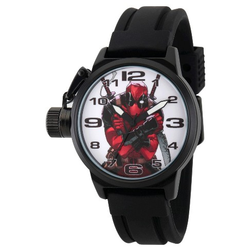 Men's Marvel's Deadpool Black Alloy Crown Protector Watch - Black - image 1 of 2