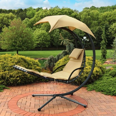 Hanging Chaise Lounge Chair with Canopy Umbrella - Beige - Sunnydaze Décor