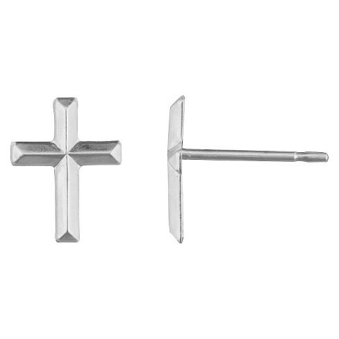 Junior's Cross Stud Earring in Silver Plating - image 1 of 1