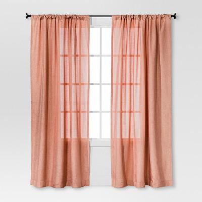 Solid Metallic Window Curtain Panel Coral (54 x84 )- Threshold™
