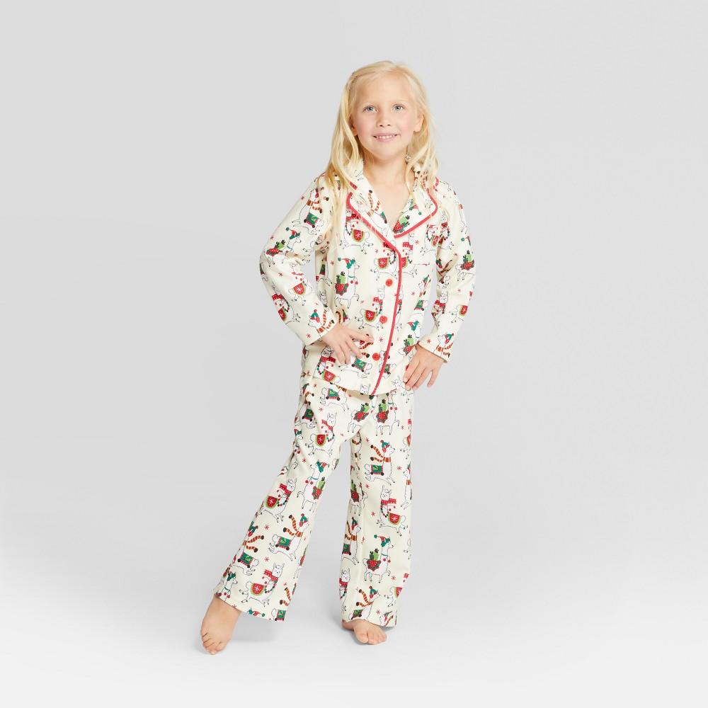 Nite Nite Munki Munki Kids' Holiday Llama Notch Collar Pajama Set - Ivory 5, Kids Unisex, Green Red White