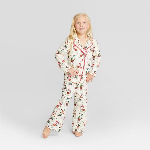 Nite Nite Munki Munki Kids  Holiday Llama Notch Collar Pajama Set - Ivory d70ba915e
