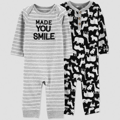 Baby Boys' 2pk Anima Long sleeve Jumpsuit - Just One You® made by carter's Black 3M