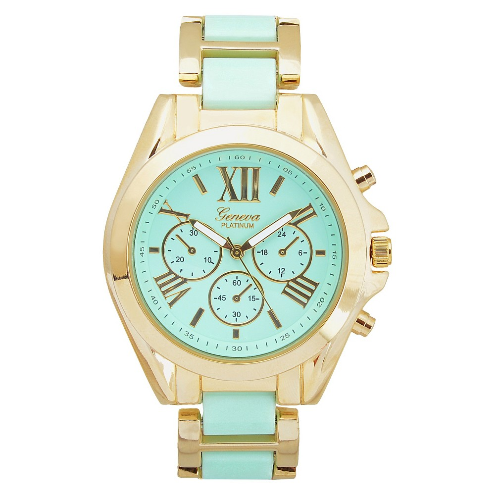 Women's Geneva Platinum Color Pop Two-Tone Link Watch - Mint